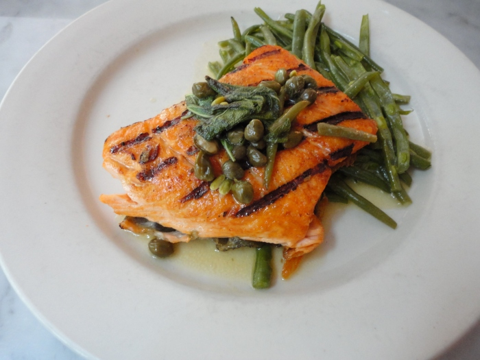 main entree salmon, capers, split green beans