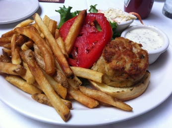 crabcake sandwich and fries