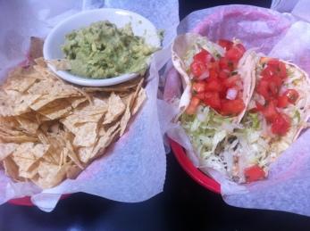 mahi mahi tacos - chips and guac