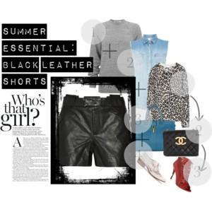 summer essentials: black leather shorts