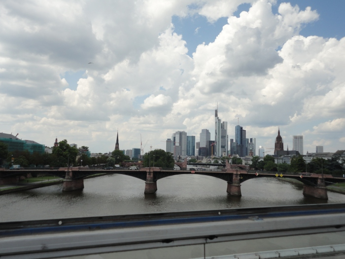 frankfurt's skyline as seen from the tour bus