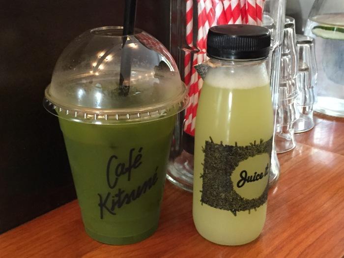 Iced macha + Cold-pressed juice @ Cafe Kitsune